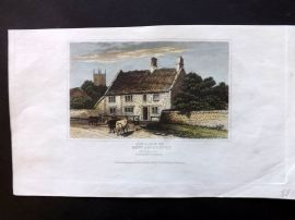 Dugdale C1840 Hand Col Print. Birth Place of Rev. James Hervey, Northants
